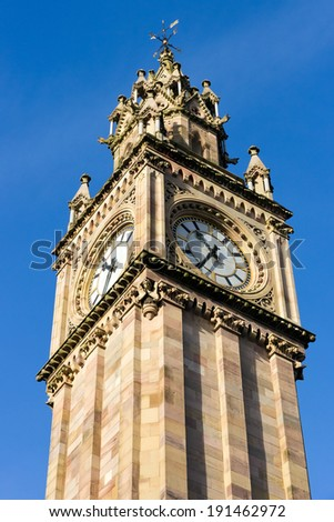 Belfast Clock tower. Prince Albert Memorial Clock at Queen's Square in Belfast, Northern Ireland  - stock photo
