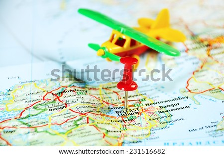 Belfast  Ireland  ,United Kingdom  map airplane and  pin - Travel concept - stock photo