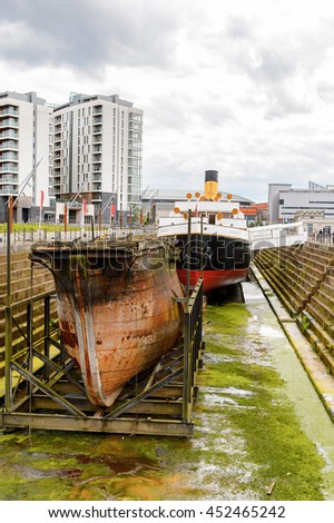 BELFAST, NI - JULY 16, 2016: SS Nomadic (1911), a steamship of the White Star Line. It was a tender to RMS Titanic on 10.04.1912