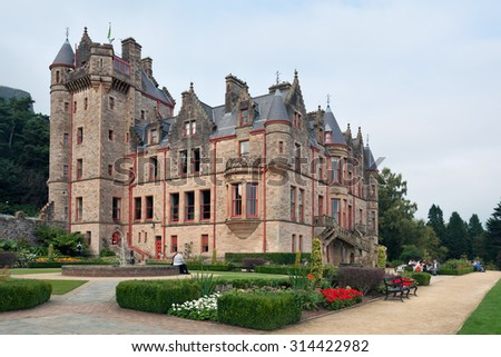 Belfast, Northern Ireland - September 19, 2014 : Belfast Castle is set on the slopes of Cavehill Country Park. Its location provides unobstructed views of the city of Belfast and Belfast Lough.