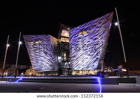 BELFAST- oct 12: An evening view of Titanic Belfast from 'The Slipways'. Photo taken October 12th  2012 in Belfast