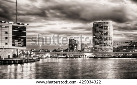 Belfast Skyline at Night over the River Lagan, Belfast City, Northern Ireland, United Kingdom (UK). - stock photo