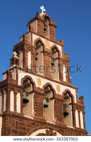 Belfry details of a church in Emporio village, Santorini - stock photo