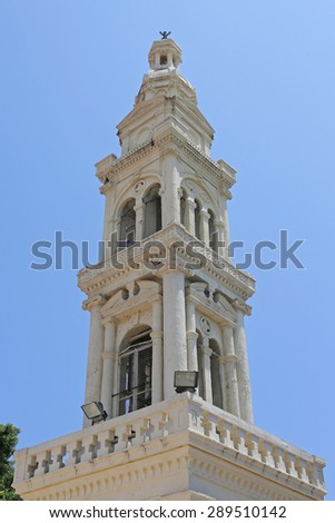 belfry of a church in Afandou, Rhodes  - stock photo