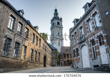 Belfry of Mons, one of Belfries of Belgium and France, a group of 56 historical buildings designated by UNESCO as World Heritage Site in the capital of the Wallonian province of Hainaut in Belgium. - stock photo