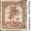 BELGIAN CONGO - CIRCA 1943: A stamp printed in Belgian Congo shows Oil Palms, circa 1943 - stock photo