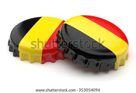 Belgian crown beer caps on a white background - stock photo