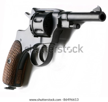 Belgian  revolver Nagant ( production 1892-1945) isolated on a white background