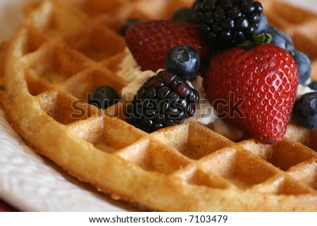belgian waffle with assorted berries, syrup, and whipped cream on top - shallow DOF - stock photo