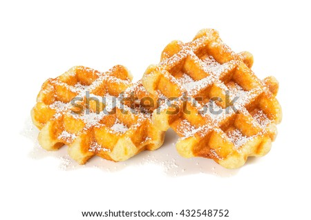 Belgian Waffles (Liege Style) Sprinkled with Powdered Sugar on White Background