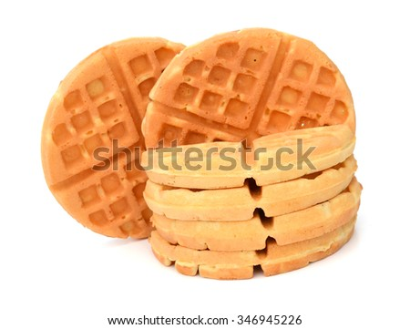 Belgian waffles on a plate isolated on white