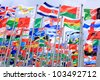 Belgium and Brazil national flags  and world national flags is flying - stock photo