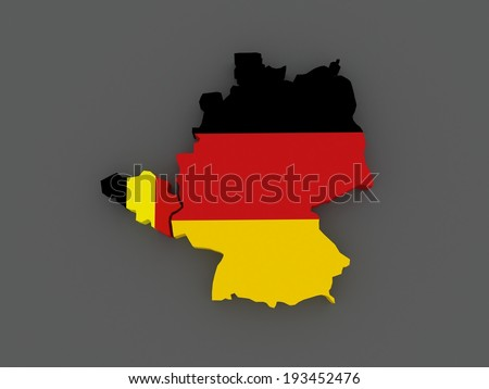 Belgium and Germany. map. 3d