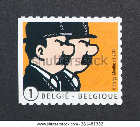 BELGIUM - CIRCA 2014: A postage stamp printed in Belgium showing an image of twin detectives Dupont or Thompson and Thompson a Tintin cartoon characters, circa 2014.  - stock photo