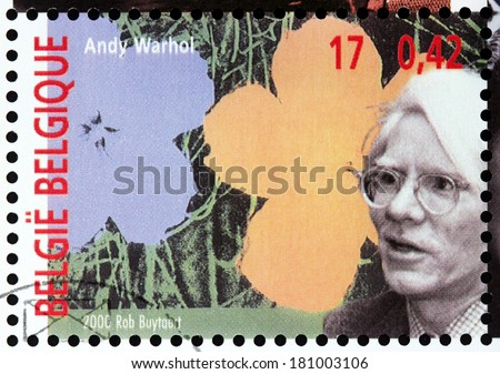 BELGIUM - CIRCA 2000: a stamp printed by BELGIUM shows image portrait of American artist Andy Warhol who was a leading figure in the visual art movement known as pop art, circa 2000. - stock photo