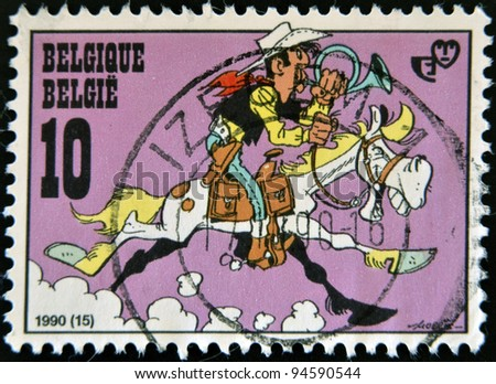 BELGIUM - CIRCA 2000: A stamp printed in Belgium shows cartoon lucky luke, circa 2000