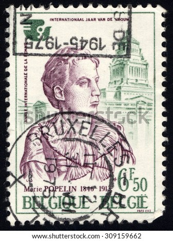 BELGIUM - CIRCA 1975: A stamp printed in Belgium shows Marie Popelin and Palace of Justice, circa 1975