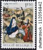 BELGIUM - CIRCA 1971: a stamp printed in Belgium shows the biblical scene of Jesus Flight into Egypt, circa 1971 - stock photo