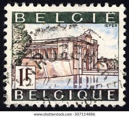 BELGIUM - CIRCA 1967: A stamp printed in Belgium, shows the Menin Gate first World War Memorial in Ieper, Belgium, circa 1967 - stock photo