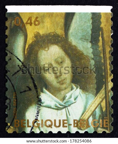BELGIUM - CIRCA 2006: a stamp printed in the Belgium shows Head of Angel Playing Trumpet Marine, Angel Painted by Hans Memling, Christmas, circa 2006