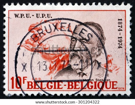 BELGIUM - CIRCA 1974: a stamp printed in the Belgium shows Heinrich von Stephan, General Post Director for the German Empire who Reorganized German Postal Service, circa 1974 - stock photo
