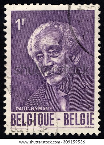 BELGIUM - CIRCA 1965: A stamp printed in the Belgium shows Paul Hymans, Belgian Foreign Minister, President of the League of Nations, circa 1965 - stock photo