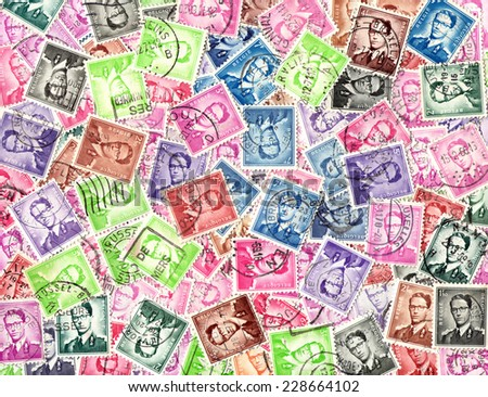 BELGIUM - CIRCA 1970: King Baudouin. Background of the postage stamps issued in Belgium - stock photo