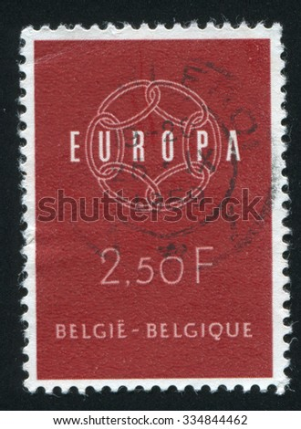 BELGIUM - CIRCA 1959: stamp printed by Belgium, shows emblem Europe, circa 1959