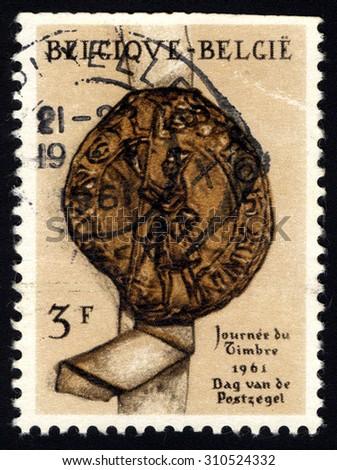 BELGIUM - CIRCA 1961: Stamp printed by Belgium, shows Seal of Jan Bode, Alderman of Antwerp, Belgium, circa 1961 - stock photo