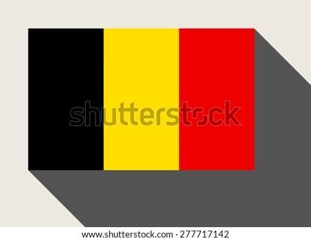 Belgium flag in flat web design style. - stock photo