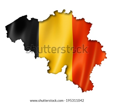 Belgium flag map, three dimensional render, isolated on white - stock photo
