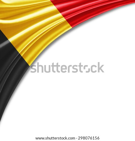 Belgium  flag of silk with copyspace for your text or images and white background - stock photo