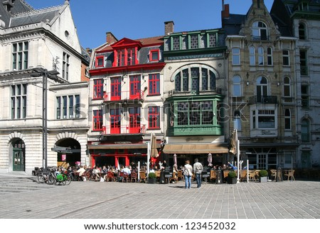 Belgium, Ghent, historic buildings in the city center - stock photo