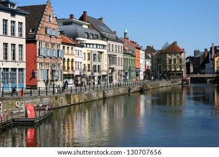 Belgium, Ghent historic medieval buildings on a canal - stock photo