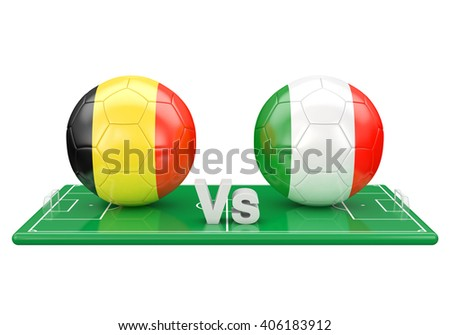 Belgium / Italy soccer game over soccer field 3d illustration - stock photo