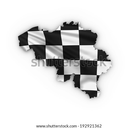 Belgium map showing a checkered flag. High quality 3D illustration. - stock photo