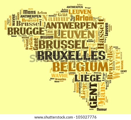 BELGIUM map words cloud of major cities with a color background