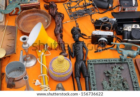 Belgium, old objects at Marolles district flea market in Brussels - stock photo