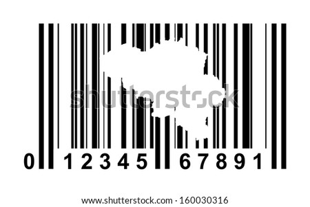 Belgium shopping bar code isolated on white background.