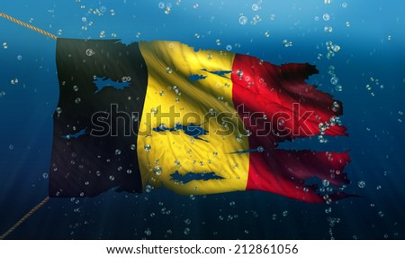 Belgium Under Water Sea Flag National Torn Bubble 3D - stock photo