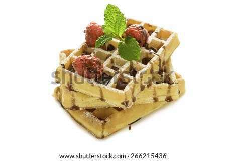 Belgium waffles with raspberry and mint isolated on white - stock photo