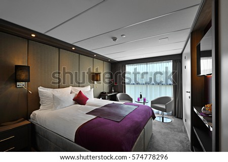 "BELGRAD, SERBIA, 11 SEP 2015: luxurious interior of matrimonial room on ship ""Amadeus Silver II""  in Belgrad, Serbia on 11 september 2015"