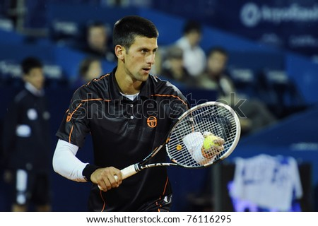 "BELGRADE - APRIL 27: Novak Djokovic seen during the ""Serbia Open"" tennis match against Adrian Ungur in Belgrade April 27, 2011 in Belgrade, Serbia."