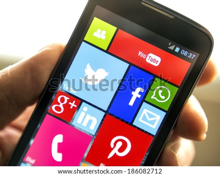 BELGRADE - APRIL 08, 2014 Social media icons on smart phone screen close up - stock photo