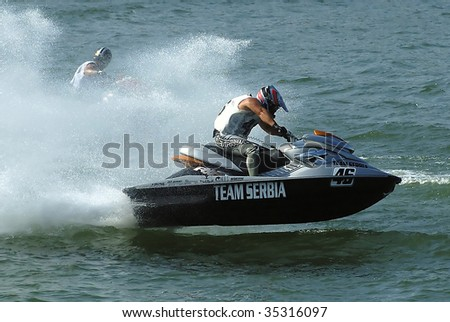 BELGRADE - AUGUST 15: IJSBA WORLD ENDURANCE CHAMPIONSHIP Jet Ski competitors on race August 15, 2009 in Belgrade, Serbia.