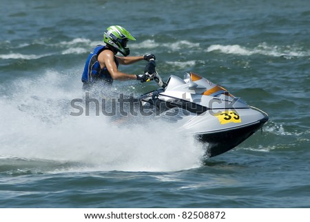 "BELGRADE-AUGUST 7:""Jet Ski Central European Championship-2011"".Driver Dragan Zaric (SRB) in race:""Novice Runabout Stock"". August 7,2011 in Belgrade, Serbia"