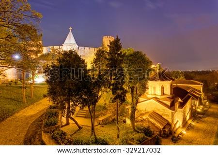 Belgrade fortress and Kalemegdan park at night - stock photo