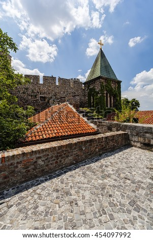 Belgrade fortress and old church with garden in day time