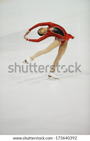 "BELGRADE - JANUARY 24: Philippines' Frances Clare Untalan performs her short program at  Europa Cup figure ice skating competition ""Skate Helena"" in Belgrade, Serbia on January 24, 2014 - stock photo"