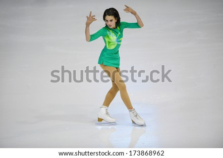 "BELGRADE - JANUARY 23: Serbia's Leona Rogic performs her free skating program at Europa Cup figure ice skating competition ""Skate Helena"" in Belgrade, Serbia on January 23, 2014 - stock photo"